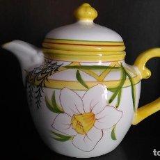 Vintage: TETERA. PINTADA A MANO. FLORES. Lote 121680239