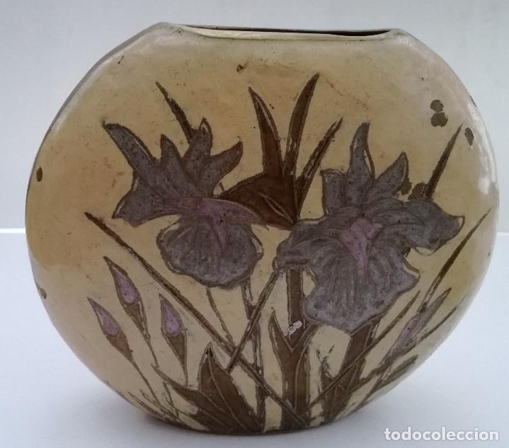 Vintage: Jarrón metal bronce policromado oval pesado - Foto 5 - 122342971