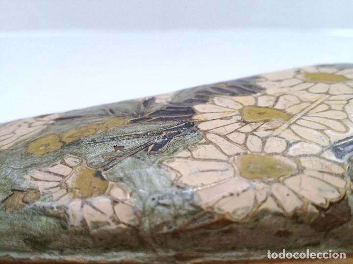 Vintage: Jarrón pequeño metal bronce policromado oval pesado - Foto 5 - 122343619
