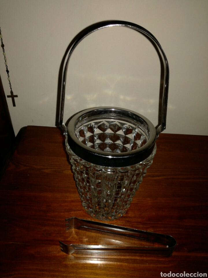 Vintage: Cubitera de Cristal y metal vintage - Foto 2 - 122716758