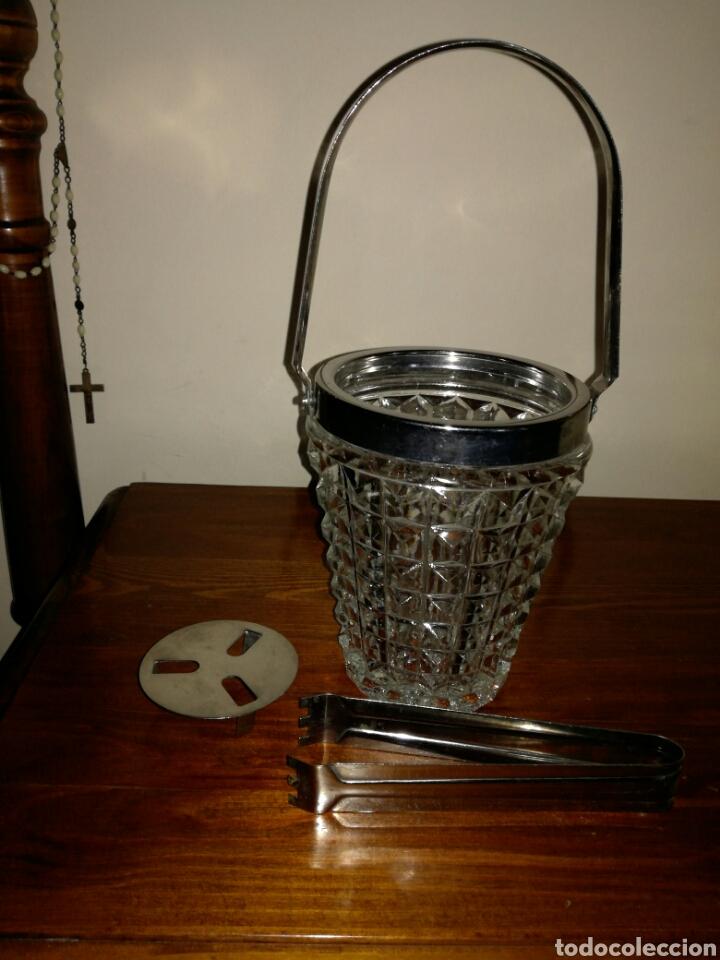 Vintage: Cubitera de Cristal y metal vintage - Foto 3 - 122716758