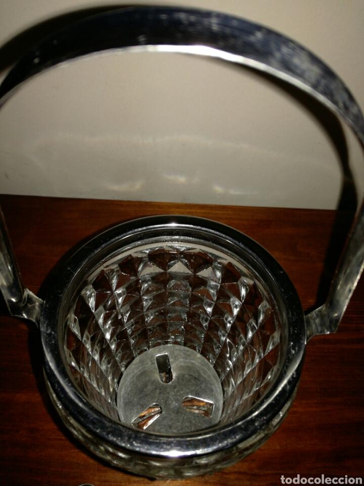 Vintage: Cubitera de Cristal y metal vintage - Foto 4 - 122716758