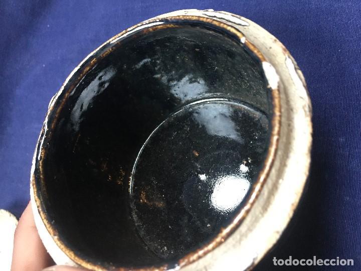 Vintage: bote con tapa tipo raku gres vidriado craquelado marron oscuro mitad s xx 9x11,5cms - Foto 12 - 122872427