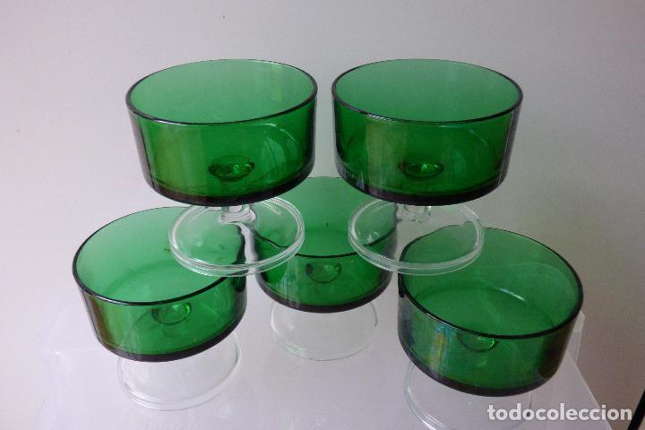 5 COPAS CAVA CHAMPAN VERDES LUMINARC (Vintage - Decoración - Cristal y Vidrio)