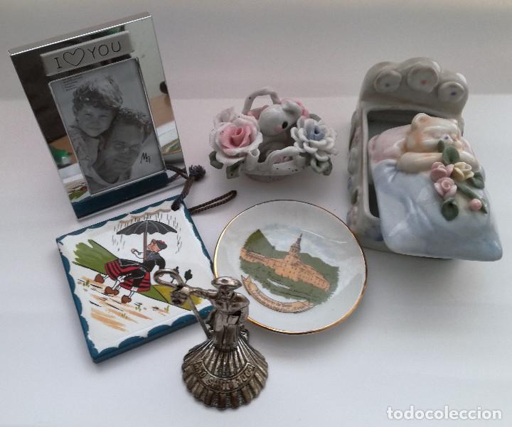 COLECCIÓN 6 FIGURAS MINIATURA AZULEJO PLATITO YUSO SANTIAGO CUNA FLORES PORTAFOTOS (Vintage - Decoración - Porcelanas y Cerámicas)