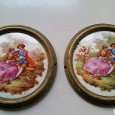 Vintage - Medallon roseta ceramica y laton mueble - 124457246
