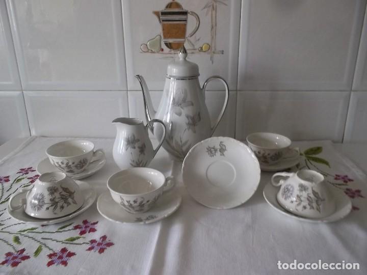 JUEGO DE CAFE PORZELANIT-FILO PLATEADO-VINTAGE (Vintage - Decoración - Porcelanas y Cerámicas)