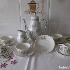 Vintage: JUEGO DE CAFE PORZELANIT-FILO PLATEADO-VINTAGE. Lote 194706415