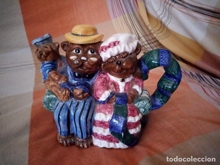 ORIGINAL TETERA CON FAMILIA DE OSOS PORCELANA EXPRESS PRODUCTION LOMBARD ILLINOIS. (Vintage - Decoración - Porcelanas y Cerámicas)