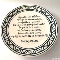 Vintage: PLATO MESON CAFE CHINITAS MÁLAGA - POEMA MATÍAS PRATS. Lote 128900495