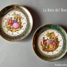 Vintage: FRAGONARD. DOS PLATOS DE PORCELANA DECORADA. SELLADOS. Lote 130994924