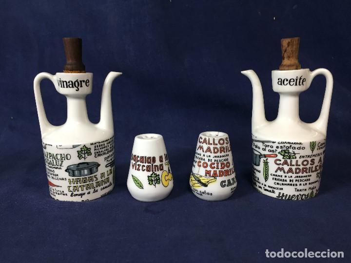 CONJUNTO ACEITERA VINAGRERA SAL PIMIENTA PORCELANA RECETAS COCINA MACOR MORE MONER AÑOS 6014X7X7 CM (Vintage - Decoración - Porcelanas y Cerámicas)