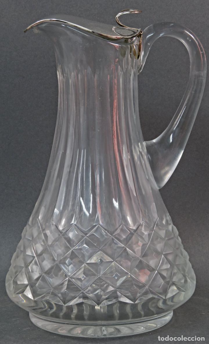 JARRA DE CRISTAL TALLADO CON BOCA EN PLATA PUNZONADA AÑOS 50 (Vintage - Decoración - Cristal y Vidrio)