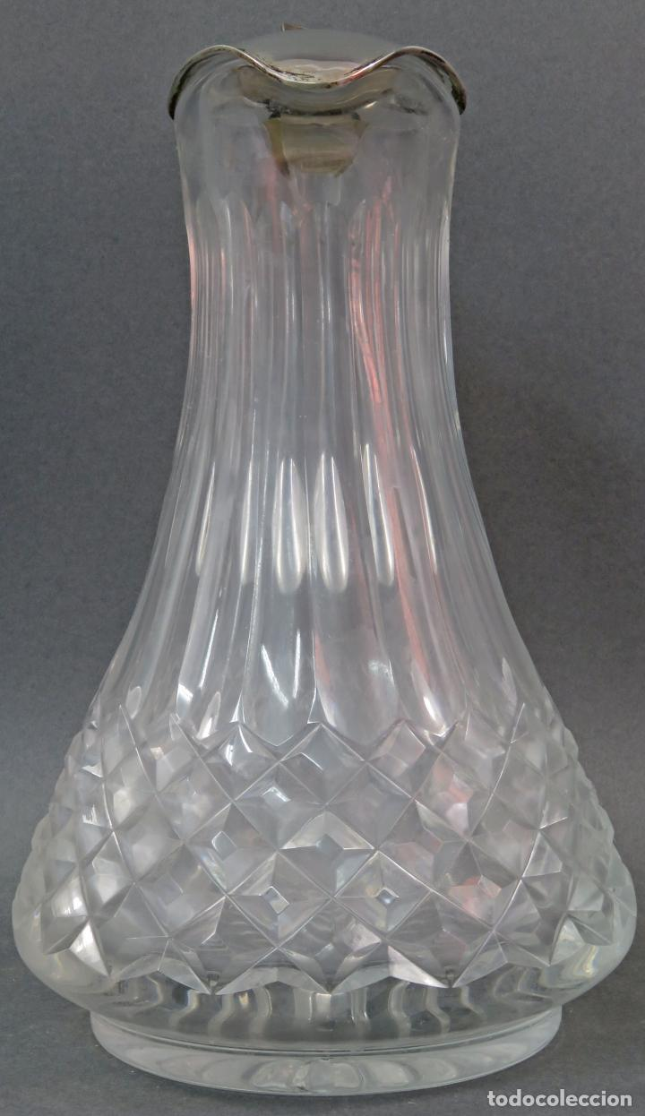 Vintage: Jarra de cristal tallado con boca en plata punzonada años 50 - Foto 2 - 131415554