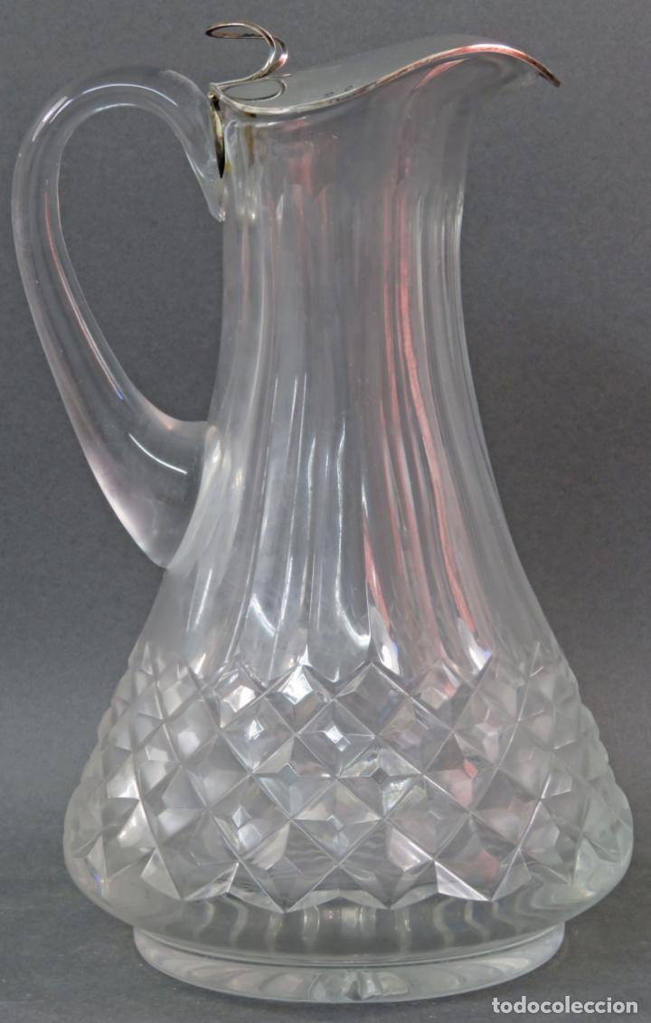 Vintage: Jarra de cristal tallado con boca en plata punzonada años 50 - Foto 3 - 131415554