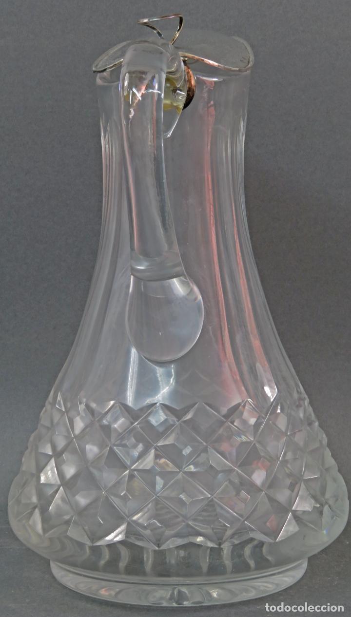 Vintage: Jarra de cristal tallado con boca en plata punzonada años 50 - Foto 4 - 131415554