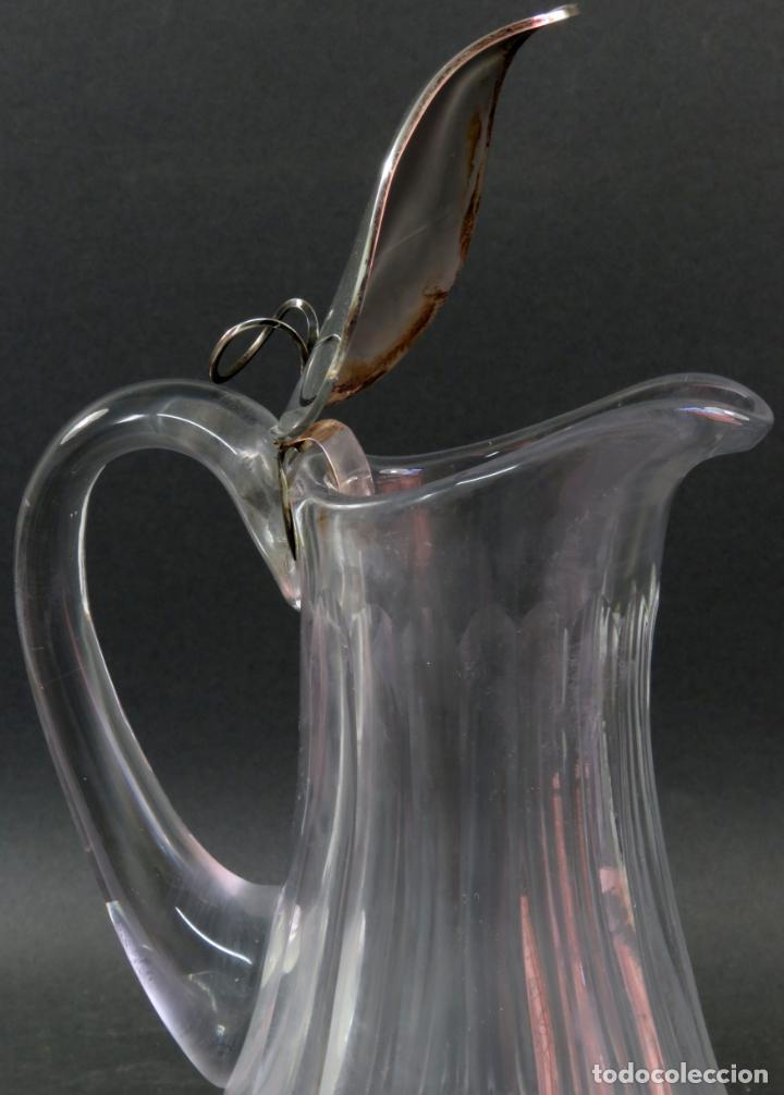 Vintage: Jarra de cristal tallado con boca en plata punzonada años 50 - Foto 6 - 131415554