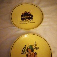 Vintage: LOTE DE 2 PLATOS DE LOZA DECORADOS.CON REFRANES.. Lote 131754394