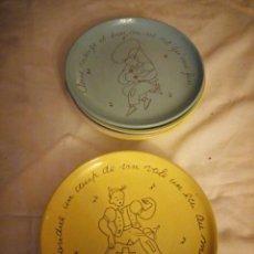 Vintage - Lote de 7 platos de loza con dibujos y refranes,diferentes colores. - 131754502