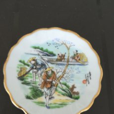 Vintage: PLATITO CHINO CON BORDES DORADOS. 9 CM. CHINA SIGLO XX.. Lote 131778042