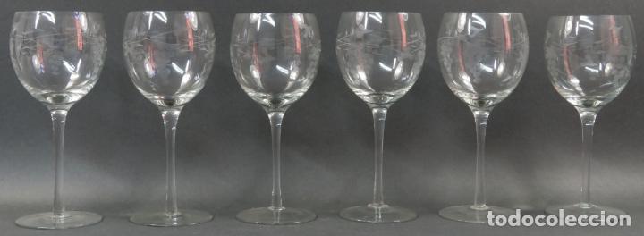 Vintage: Juego de seis copas en cristal grabado segunda mitad siglo XX - Foto 3 - 131890810