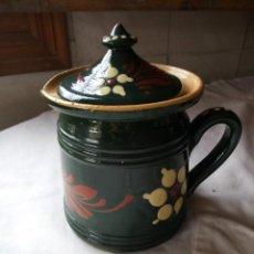 Vintage - Antigua jarra con tapa de cerámica pintada a mano.años 70 - 132030254