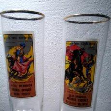 Vintage: 2 VASOS CON ESTAMPAS TAURINAS, CARTELES DE CORRIDAS DE TOROS. Lote 132089258