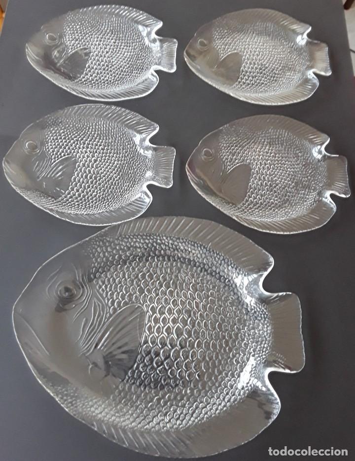 FUENTES CRISTAL PEZ (Vintage - Decoración - Cristal y Vidrio)