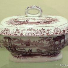 Vintage: PEQUEÑA SOPERA EN PORCELANA ESPAÑOLA EN PÚRPURA. Lote 132523918
