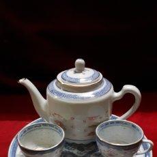 Vintage: PORCELANA CHINA. TETERA + 2 TAZAS + PLATO A JUEGO.. Lote 132569585