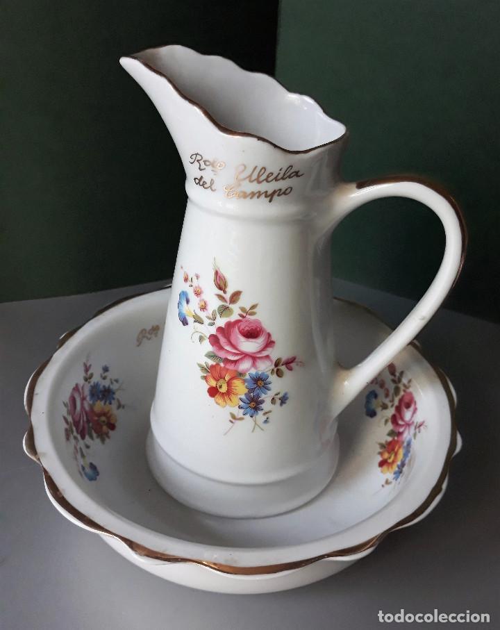 AGUAMANIL PALANGANA Y JARRA PORCELANA RECUERDO DE ULEILA DEL CAMPO ALMERIA (Vintage - Decoración - Porcelanas y Cerámicas)