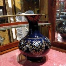 Vintage - Jarron de porcelana Irabia Pamplona, en azul oscuro con decoración en dorado y blanco. - 39621906