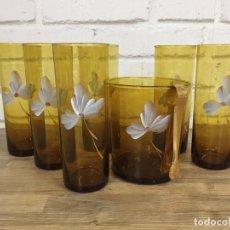 Vintage: SET DE CÓCTEL ROUSSEAU PINTADOS A MANO SOBRE AMBER GLASS FRANCIA MIDECNTURY S.XX. Lote 134140330