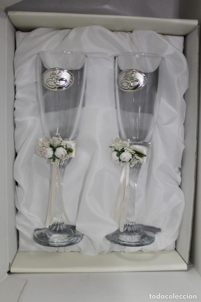 j. 2 copas de cristal para bodas de plata. - comprar cristal y