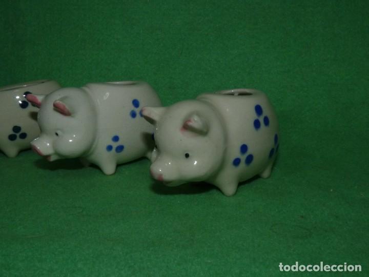 Vintage: Divertido lote palillero cerditos porcelana pintada esmalte vintage colección vintage - Foto 3 - 134950906