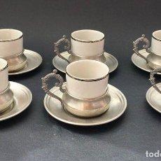 Vintage: JUEGO CAFÉ -PORCELANA Y PELTRE ( 95%) - REGISTRO EN BASE. Lote 135005470