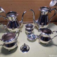Vintage: JUEGO DE CAFÉ Y TÉ DE 5 PIEZAS DE METAL PLATEADO. EN PERFECTO ESTADO DE CONSERVACIÓN.. Lote 135326182