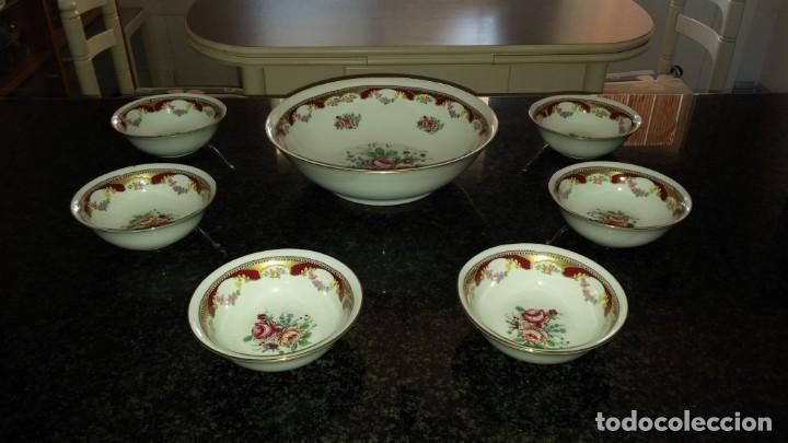 FUENTE Y CUENCOS LIMOGES (Vintage - Decoración - Porcelanas y Cerámicas)