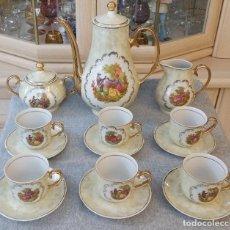 Vintage: JUEGO COMPLETO DE 6 SERVICIOS DE CAFÉ O TE DE PORCELANA SELLADA NURIA MADE IN INPAIN. Lote 136827578