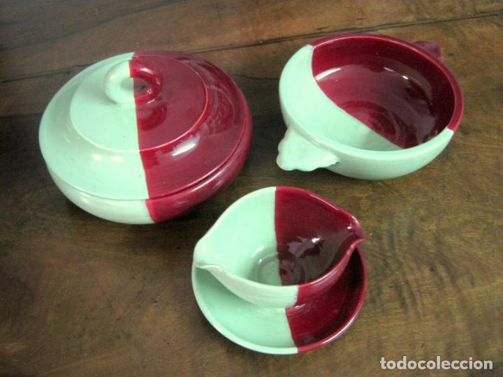 3.3 KG - GRANDE SET RETRO VINTAGE FRANCIA CERAMICA - VALLAURIS CERENNE 50'S MID CENTURY CELADON (Vintage - Decoración - Porcelanas y Cerámicas)