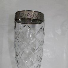 Vintage: FLORERO CRISTAL DOBLE TALLADO Y PLATA. Lote 137436926