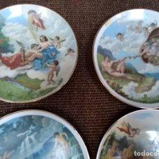 Vintage: 4 PLATOS CON ESCENAS CELESTIALES Y BORDES EN ORO. Lote 137571474