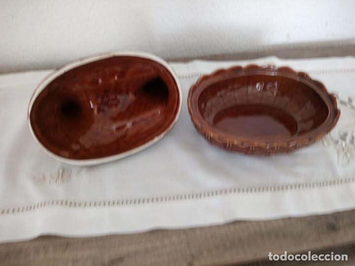 Vintage: Antigua gallina en el cesto ,ceramica . port meiron 1 made in england.. - Foto 3 - 137903362