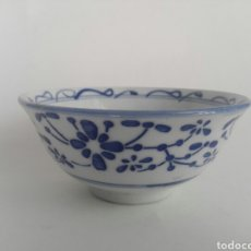 Vintage: CUENCO PORCELANA AZUL Y DECORACION FLORAL CHINA. Lote 137957109