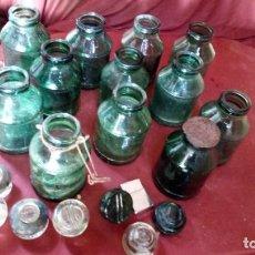 Vintage: 12 BOTES DE CRISTAL IGUALES Y 7 TAPONES TAMBIÉN DE CRISTAL. Lote 138609382