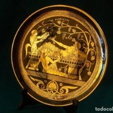 Vintage: PLATO GRIEGO ANTIGUO PINTADO A MANO CON ORO 24K CON SOPORTE DE MADERA .DIAMETRO 23,5CM. Lote 139481314