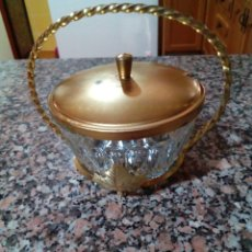 Vintage: AZUCARERA DE CRISTAL Y LATON . Lote 139587762