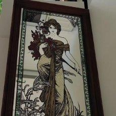 Vintage: ESPEJO CON REPRODUCCIÓN DEL ARTISTA MODERNISTA MUCHA. Lote 140996850