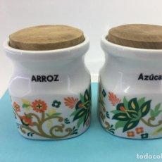 Vintage: 2 TARROS DE COCINA DE PORCELONAS GUILLEN (MADRID) - PARA AZUCAR Y ARROZ - ESTILO TIPICO. Lote 141034354