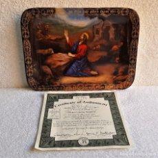 Vintage: GB BONITO PLATO DESORATIVO RECTANGULAR PRAYER IN THE GARDEN + CERTIFICADO - ENGLAND - 22.CM X 16.CM. Lote 141133474